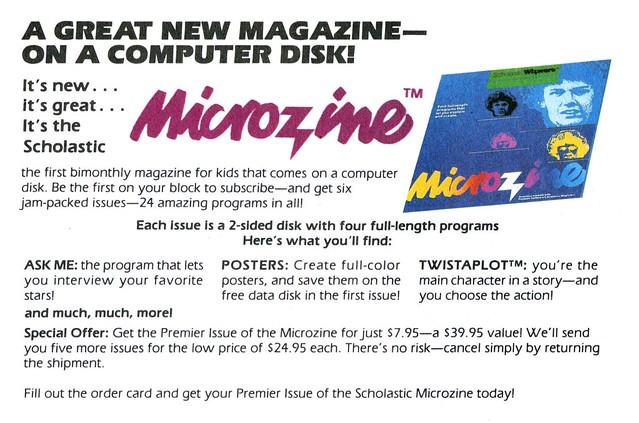Microzine computer magazine, 1983 ad