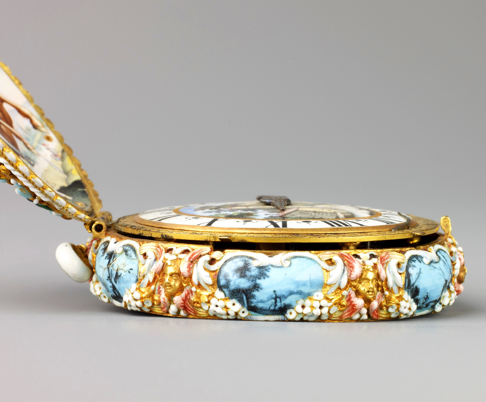 1645. Watch. Jacques Goullons. Case and dial of enameled gold; hand of steel; movement of brass, partly gilded, and steel. metmuseum2