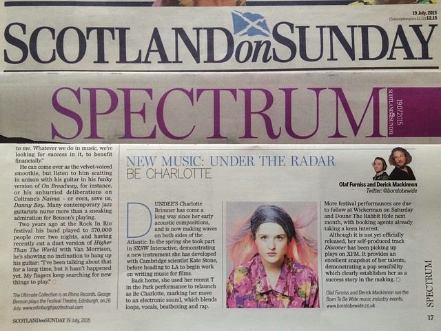 Olaf Furniss and Derick Mackinnon Scotland On Sunday, Spectrum Magazine 19 July 2015, Be Charlotte