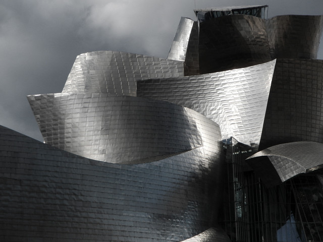 Frank Gehry's architectural design for the Guggenheim modern art museum in Bilbao, Spain