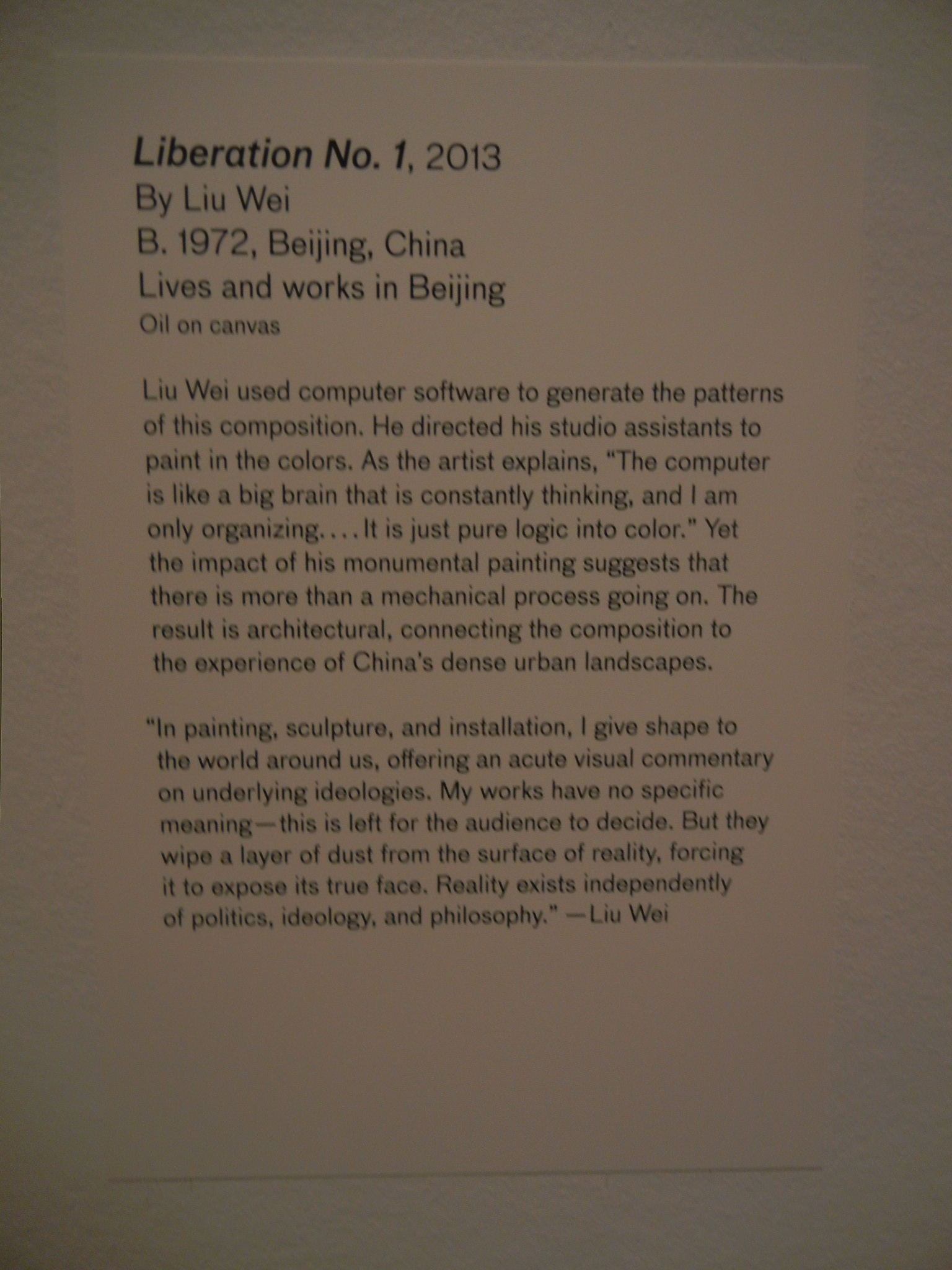 DSCN4642 _ 28 Chinese - Liberation No. 1, 2013, Wei LIU, Asian Art Museum