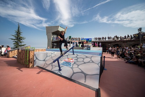 Branislav Mrvan of Slovac Republic perfoms during the Red Bull Skate Arcade World Final in Barcelona, Spain on September 12th, 2014