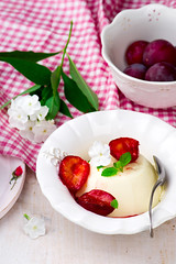 the panna cotta  with plum sauce