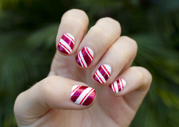 Candy cane nail art designs