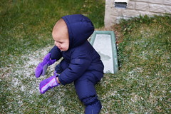 Sawyer's old snow suit barely fits him (and pulls his hood off when he sits down)
