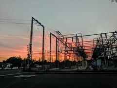 Transformer station and sunset, Burbank, California, USA