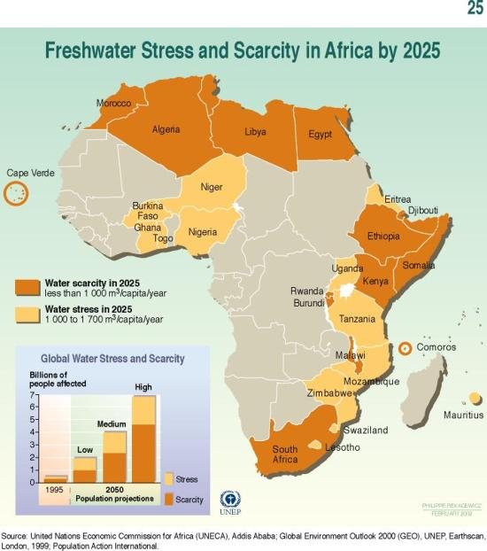 Freshwater stress and scarcity in africa by 2025 | GRID-Arendal