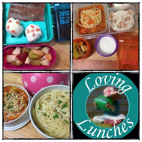 Loving today's lunches… still on the #soccer theme for Miss M and Honey is all about the #TeddyBear thanks to our @cutezcute original cutter. Mine leftover spaghetti marinara - thanks Mr Loving!  The citrus cordial Miss M & I made over the weekend is in H