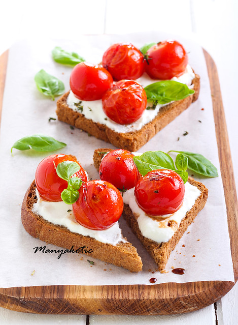 Open-face tomato and cheese bruschetta