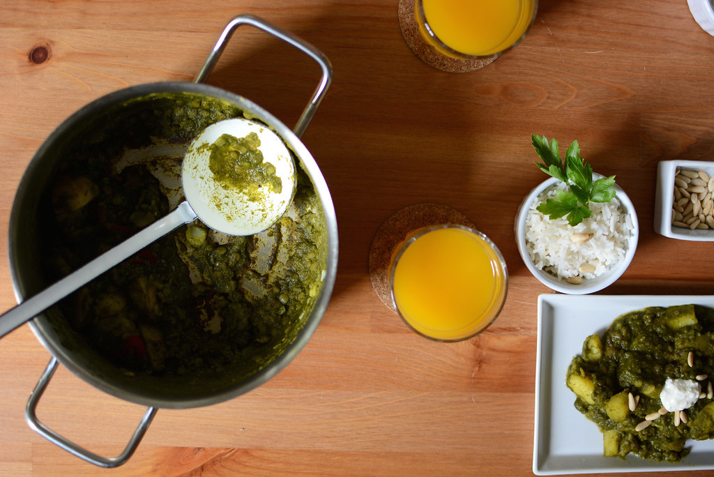 Erdäpfel-Spinat-Curry