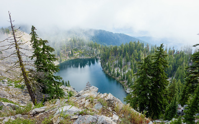 Smith Lake, far below in the mist