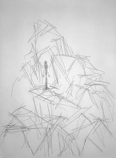 L'Homme dans les rochers I - Alberto Giacometti - 1965 - Illustration pour Retour Amont de René Char - Aquatine sur papier Japon