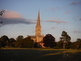 Salisbury Cathedral across the Water Meadows