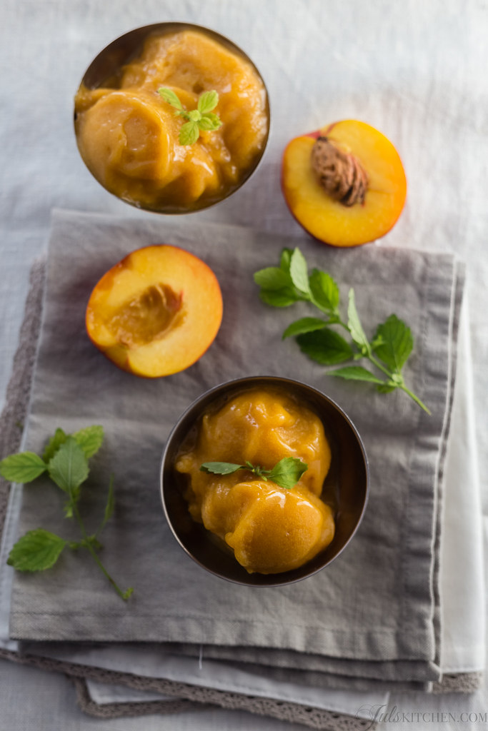 have great plans for us, August! Peach and prosecco sorbet.