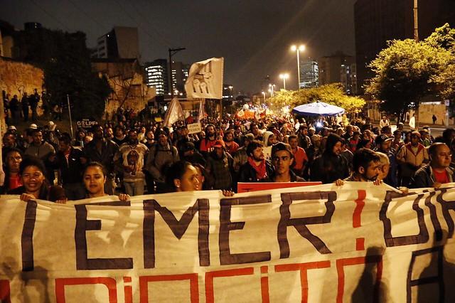 """Ato em São Paulo em setembro deste ano: """"Fora, Temer"""" foi a palavra de ordem do ano das entidades da Frente Brasil Popular - Créditos: José Eduardo Bernardes/Brasil de Fato"""