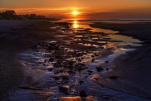 ocean morning light sea cloud sun seascape reflection beach water pool rock clouds sunrise river dawn coast early nc sand glow waterfront purple tide low north shell atlantic shore carolina seashore tidal topsail hdr
