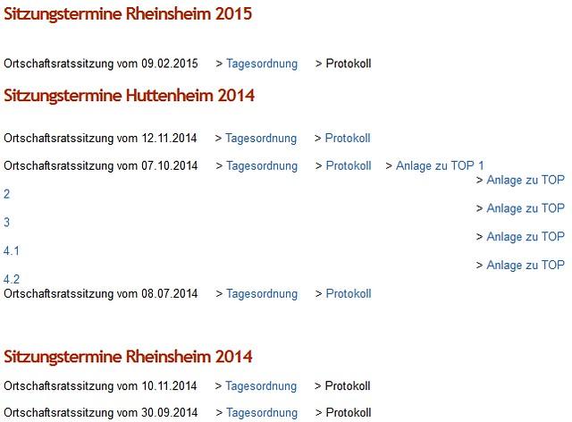 Rheinsheimer Ortschaftsrat Protokolle