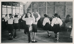 School girls practice a traditional dance