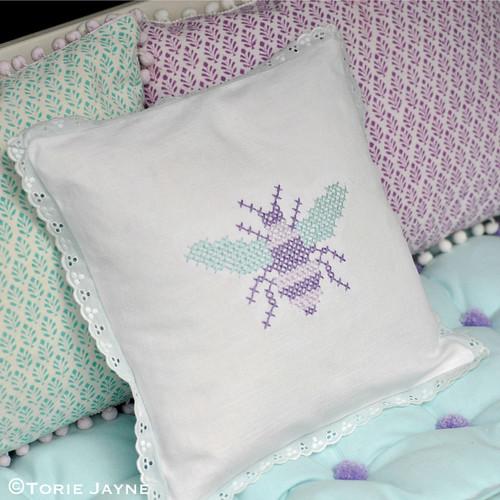 Handmade cross stitch cushion
