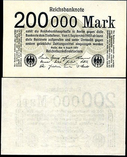 200 000 nemeckých mariek Nemecko 1923