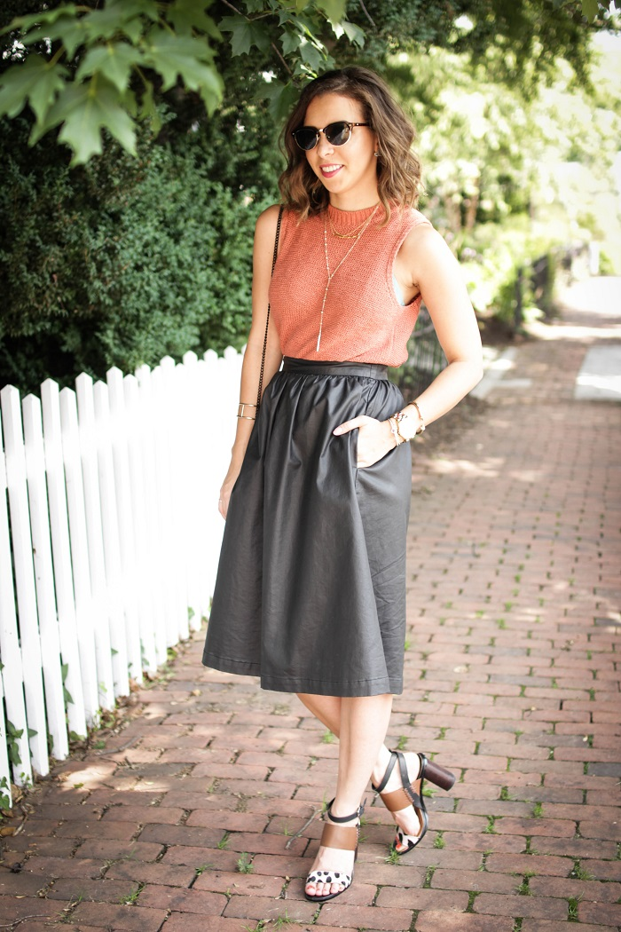 aviza style. andrea viza. fashion blogger. dc blogger. faux leather midi skirt. lou & Grey top. summer outfit. 12