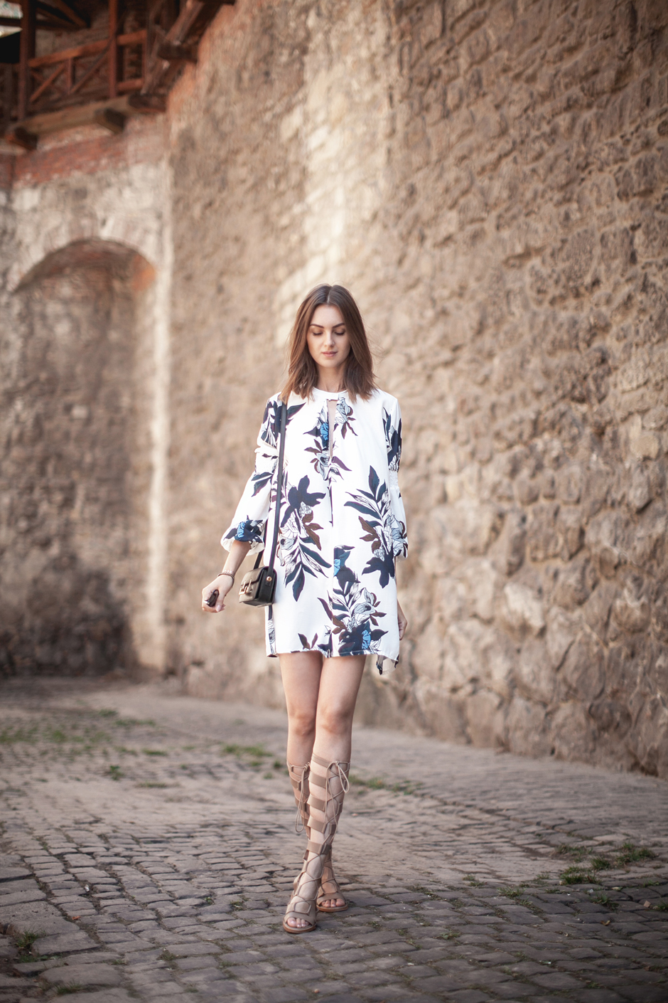how-to-wear-a-floral-swing-dress-gladiator-sandals