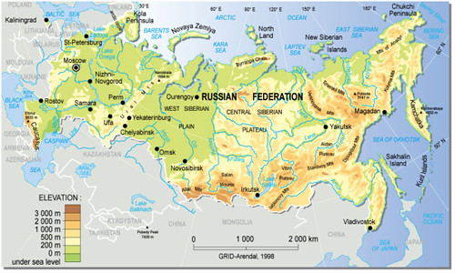 Russian Map Of Russia.Russian Federation Topographic Map Grid Arendal