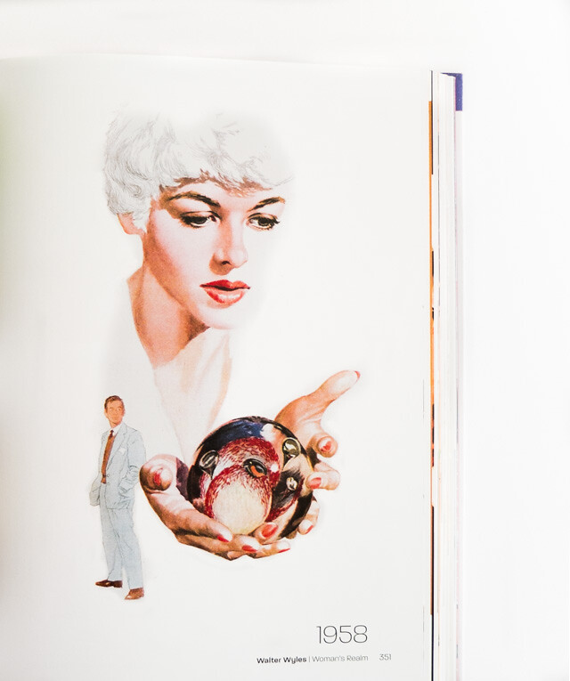 woman with white hair holding glass globe with birds in