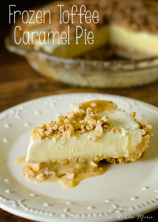 This frozen toffee caramel pie is easy to make and everyone loves it.  Perfect for a sweet, cool summer dessert