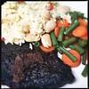 Jerk Pork, Rice & Peas, Veg