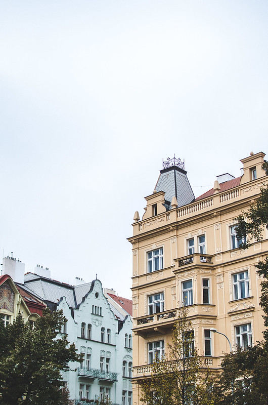 Lots of beautiful buildings in Prague's Vinohrady neighborhood.
