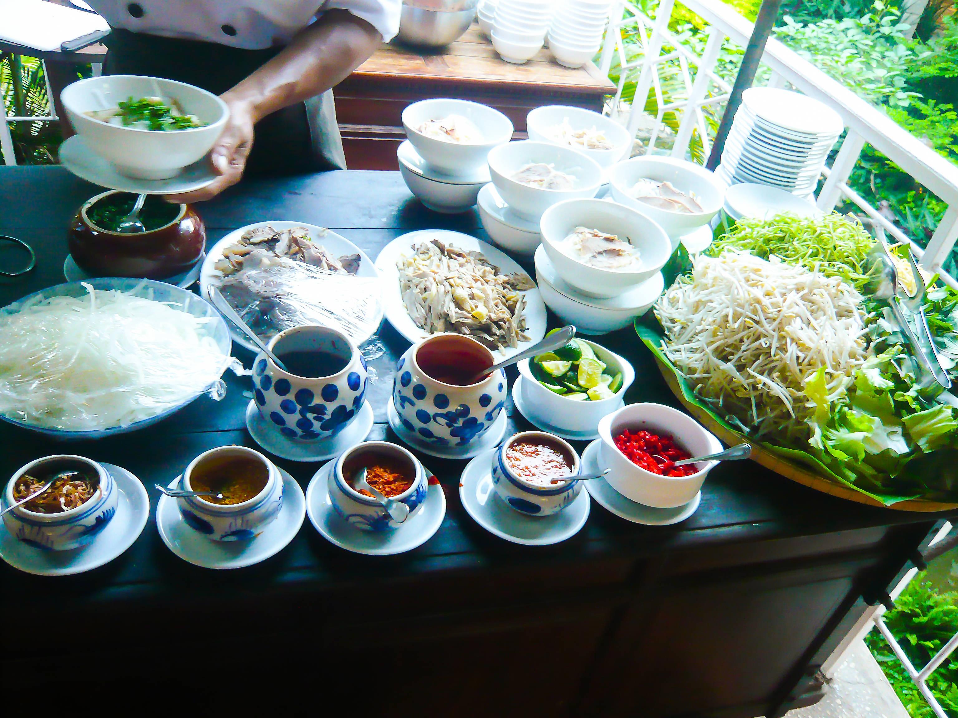 Phở Gà (Chicken noodles) and Bún Bò Huế (Vietnamese beef noodles)