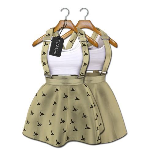 {MYNX} Suspender Dress - Khaki Birds