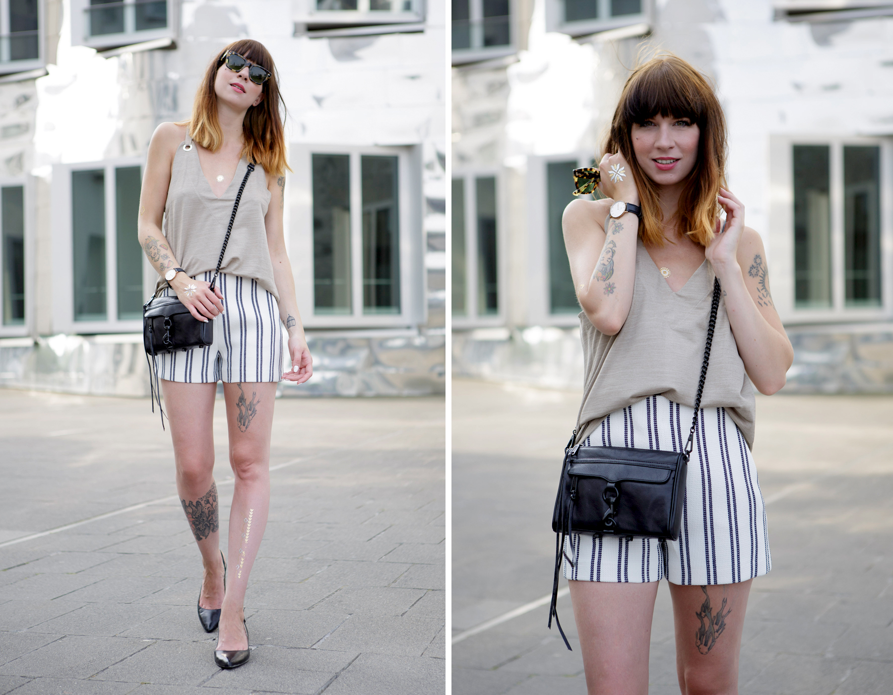 stiped shorts nude summer outfit styling düsseldorf blogger german girl rebecca minkoff shopbop ricarda schernus cats & dogs 6