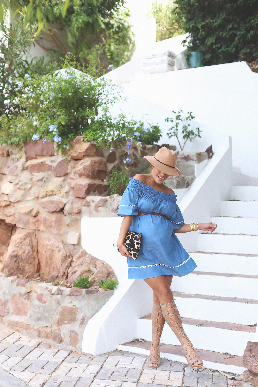 9. off shoulders denim dress - jessie chanes - pregnancy