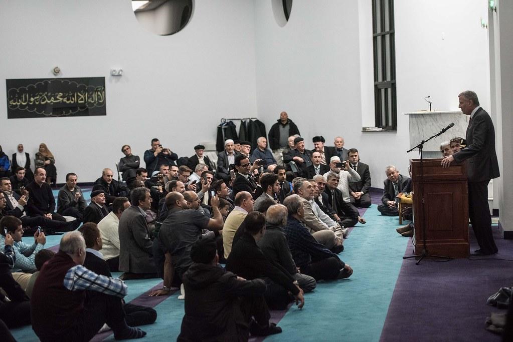 Mayor Bill de Blasio delivers remarks during Prophet Muham