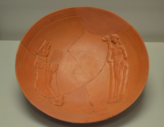 North African Terra Sigillata plate with depiction of a Damnatio ad Bestias, late 4th century AD, found in Lanuvium, Crypta Balbi, Rome
