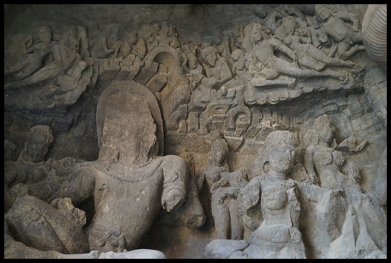 Elephanta caves : Defaced stone carvings