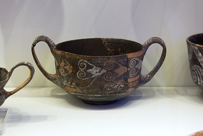 Clay cup, with white and polychrome decoration, from Palaikastro, Crete