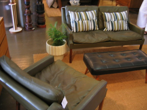 Danish leather setee and matching chair