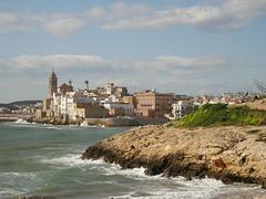 Vista de Sitges (Catalunya,Spain) des de la platja de St. Sebastià. 18/2/2006