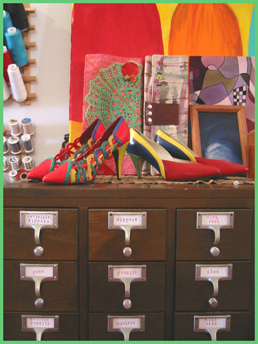 shoesies on top of the card catalog