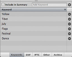 Aperture keywords