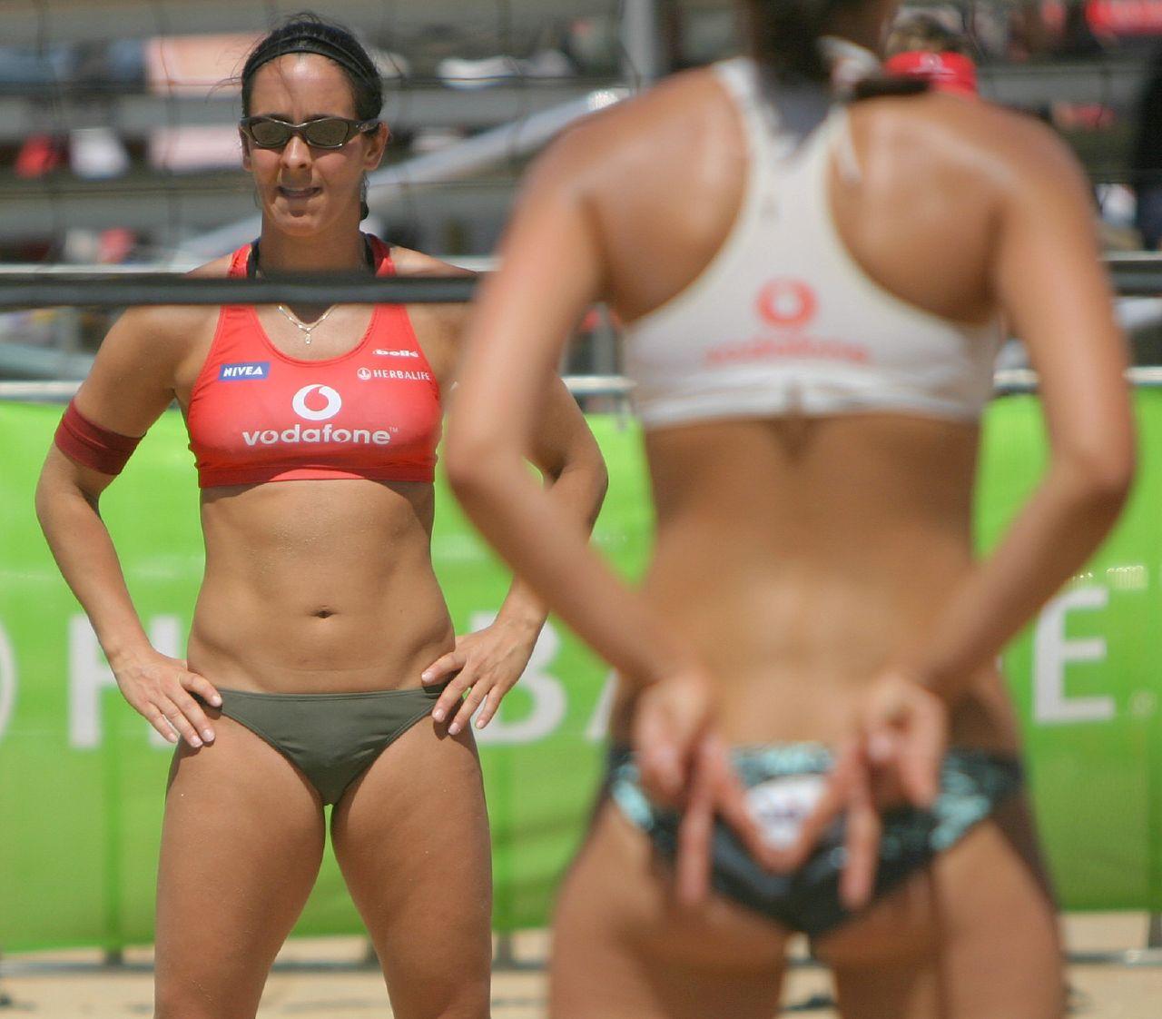 Women's beach volleyball on St Kilda beach in Australia