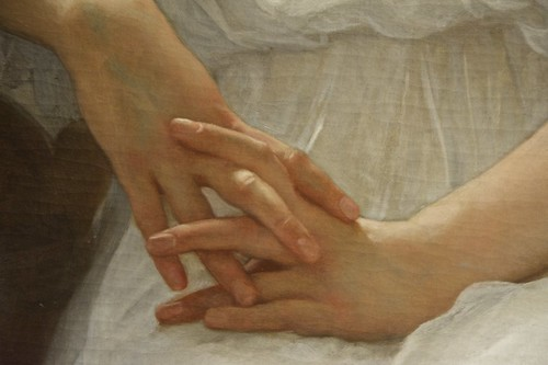 Hands, Detail from Whisperings of Love, Adolphe-William Bouguereau, 1889, New Orleans Museum of Art (NOMA)