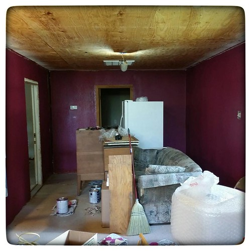 Two coats! Well, one regular coat and one really light coat. When this dries, I'll decide if I need to get a second gallon and do a third coat next week. After that, drywall the ceiling, trim/baseboards, and putting the furniture back right!