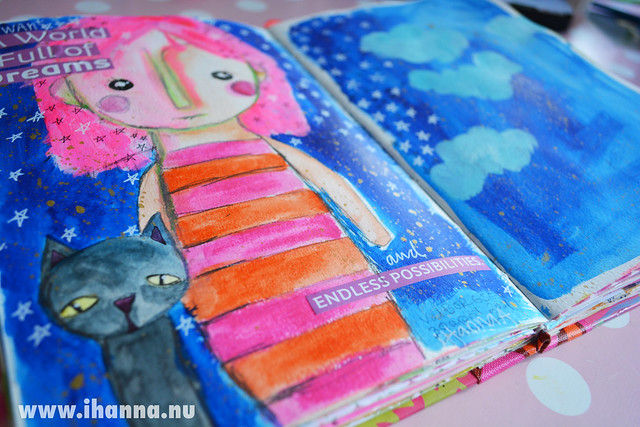 Art Journal Detail: Girl and Cat by iHanna