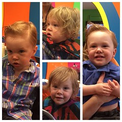Off for a hot play date with these adorable dudes. #NewDo #roadtriphome