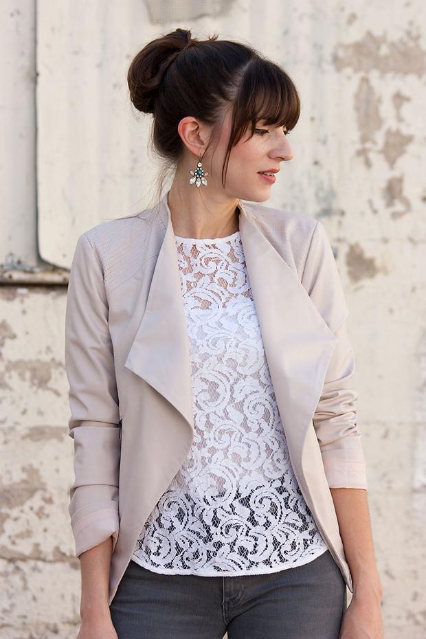 Blush Jacket, White Lace Tee, Rocksbox Earrings, Grey Denim
