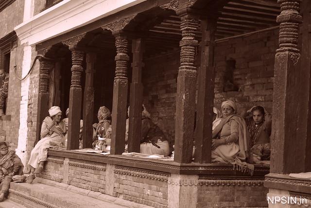 Sanyasi taking rest in Shri Pashupatinath Mandir